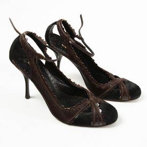 BCBG Maxazria – Leather Fur Mary-Jane Heels – 8.5